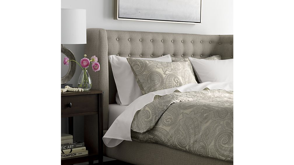 Gia Upholstered Grey Tufted Bed Crate And Barrel King