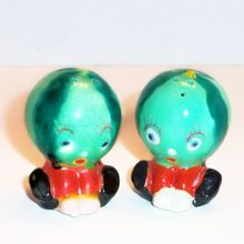 Hand Painted Porcelain Anthropomorphic Watermelon Head Salt & Pepper Set - Marked