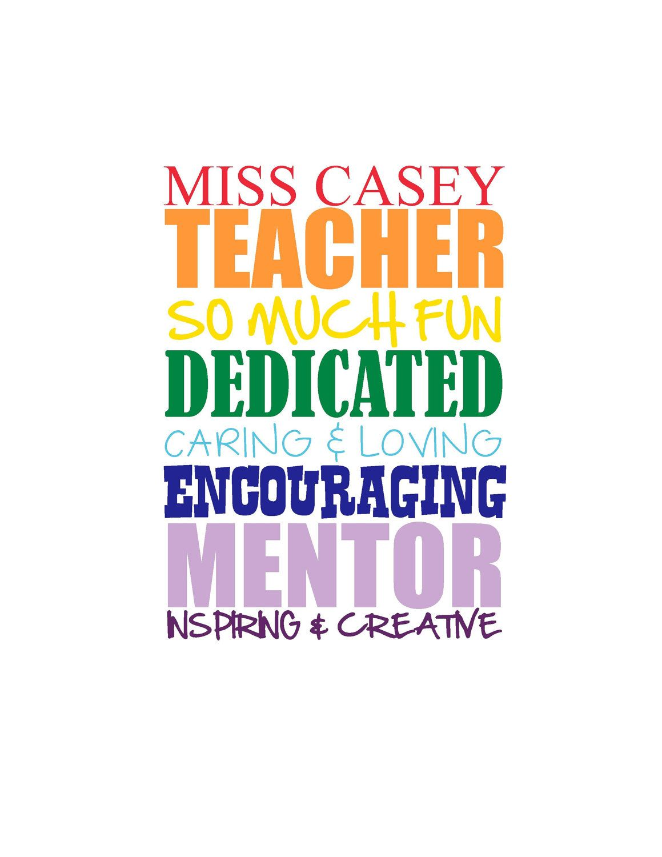 Preschool Teacher Quotes Teacher Subway Art Typography Printable Custom Andmlewis117