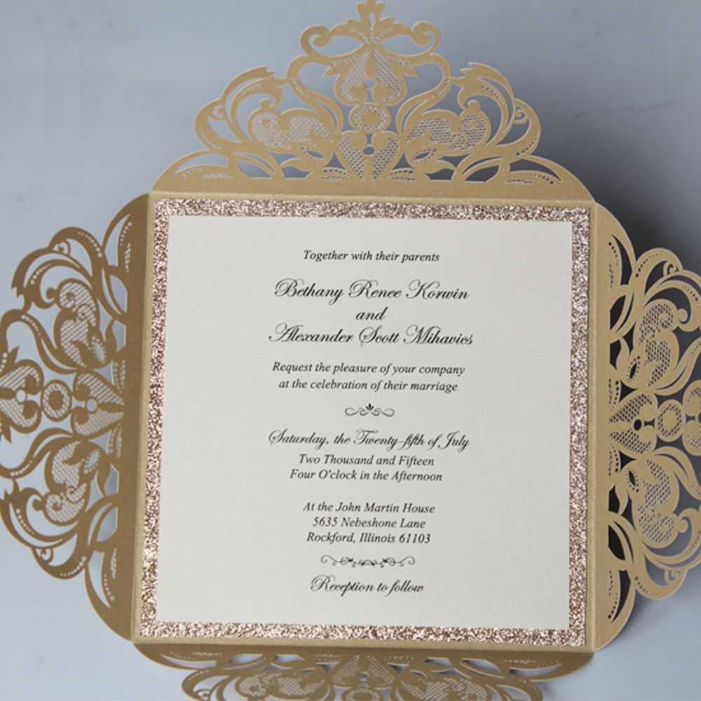 Gold Laser Cut Wedding Invitations cw519 Personalized Invitation ...