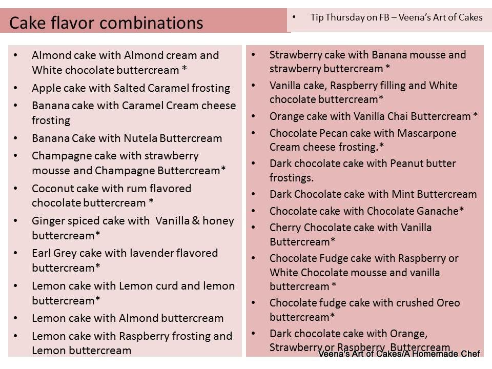 Cake Flavor Combinations Veena S Art Of Cakes With Images