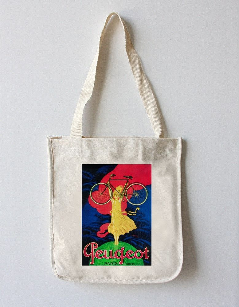 Tote Bag (Peugeot Bicycle - Vintage Promotional Poster)