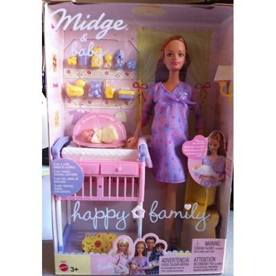 Midge & Baby (Pregnant Barbie) ~ Haha I think this might have been the early 2000's but it's too funny not to pin.