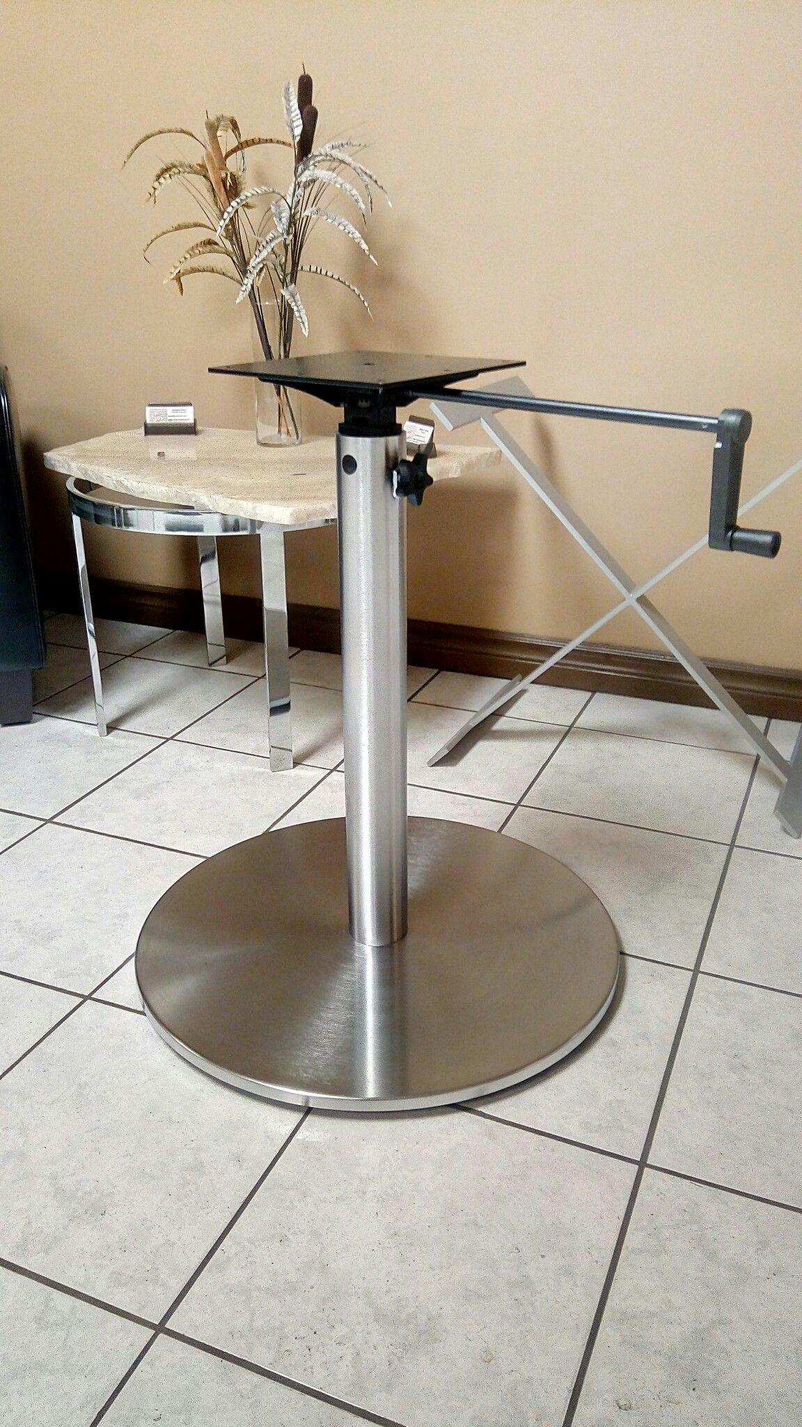Custom adjustable height metal disc plateau table base ...