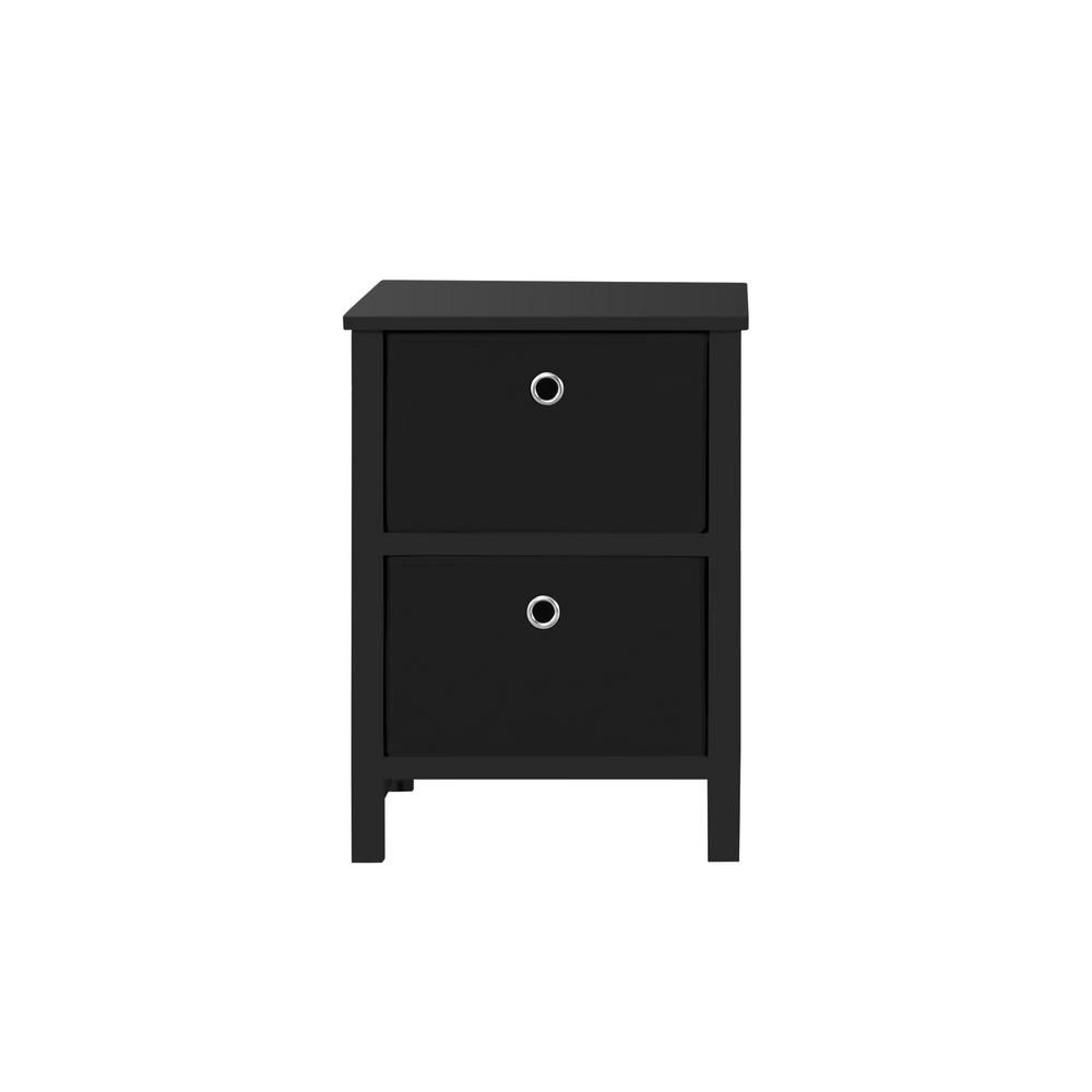Achim Ez Home Solutions 2 Drawer Black Foldable Night Stand 2