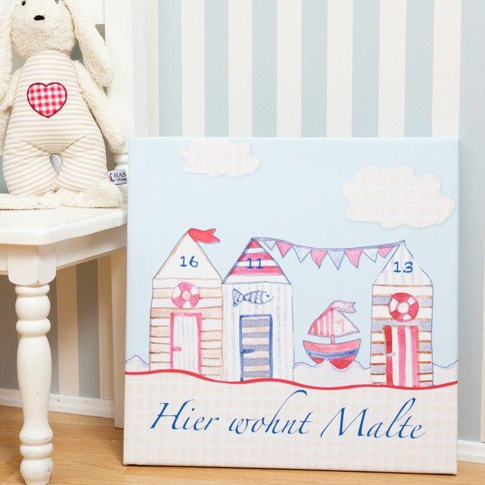 Strandhaus Bild für Kinderzimmer mit Namen und