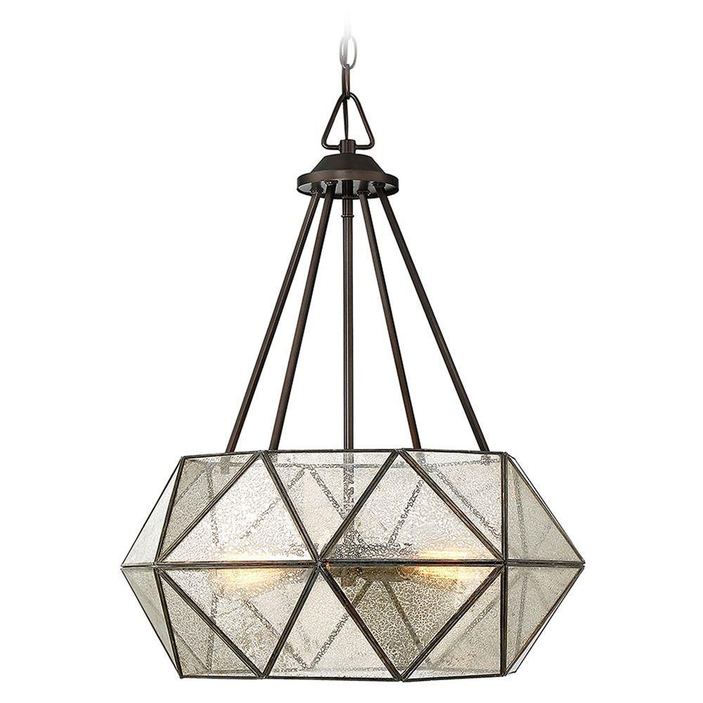 Savoy House Mercury Glass Octagon Pendant Light Bronze 7 9008 4 28
