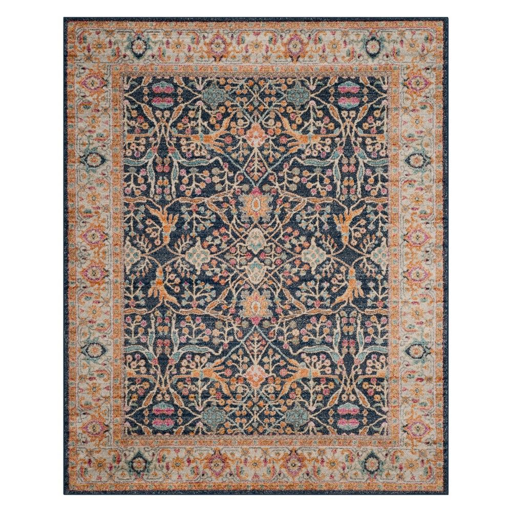 10 X14 Floral Loomed Area Rug Navy Cream Safavieh In 2020 Rugs On Carpet Area Rug Design Area Rugs