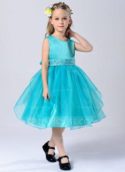 [CA$ 40.89] A-Line/Princess Tea-length Flower Girl Dress - Tulle/Polyester Sleeveless Scoop Neck With Sash/Rhinestone (010088183)