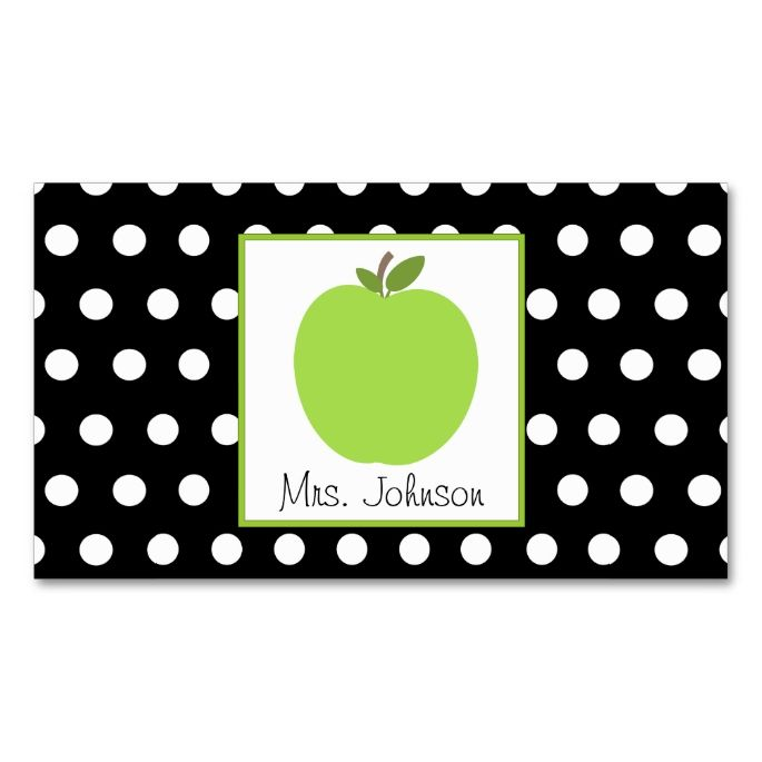 teacher green apple black with white polka dots doublesided standard business cards pack of make your own business card with this great design