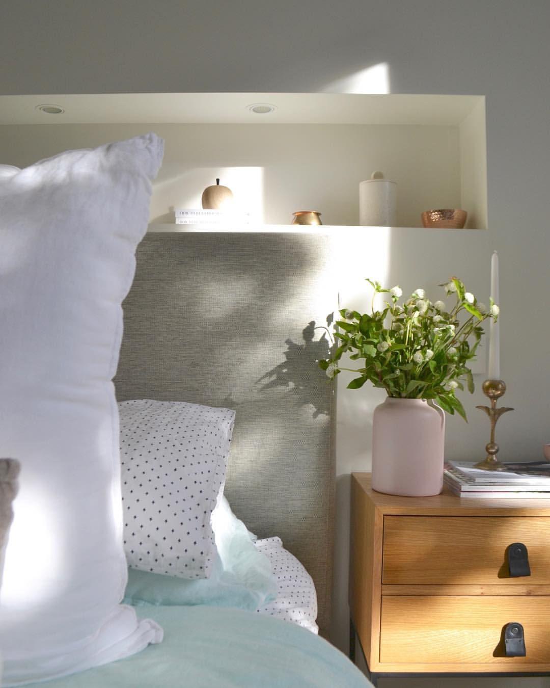 Master bedroom shelves above the bed  Master bedroom nicheshelf above bed bedside tables bedroom