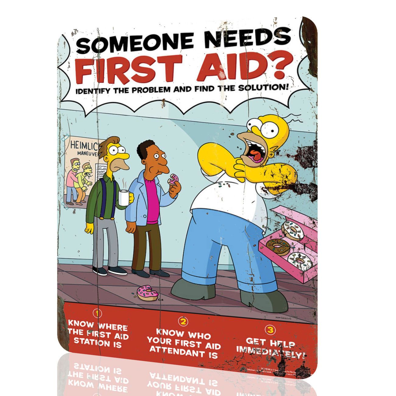Metal sign the simpsons first aid security collection 9