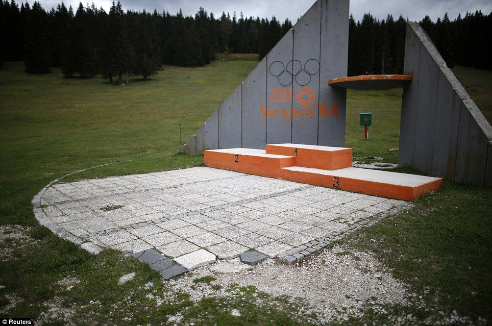 In what was once a symbol of hope, the derelict medals podium at the disused ski jump has been destroyed by years of neglect