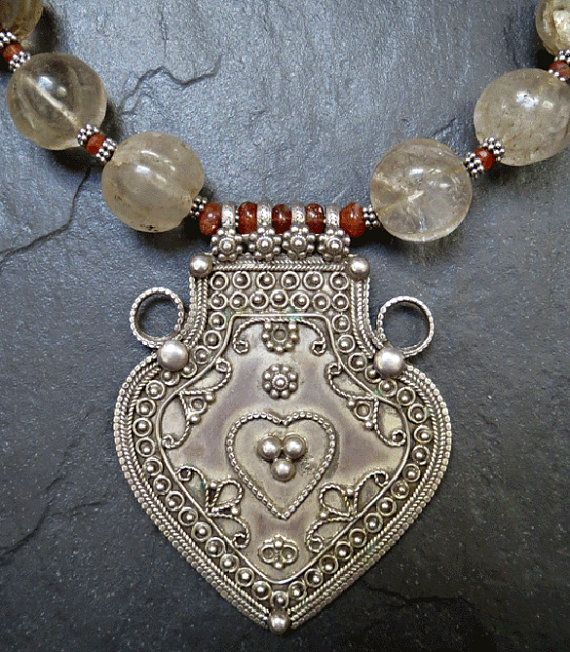 Antique nepalese rock crystal and sunstone necklace with india antique nepalese rock crystal and sunstone necklace with india silver pendant aloadofball Images