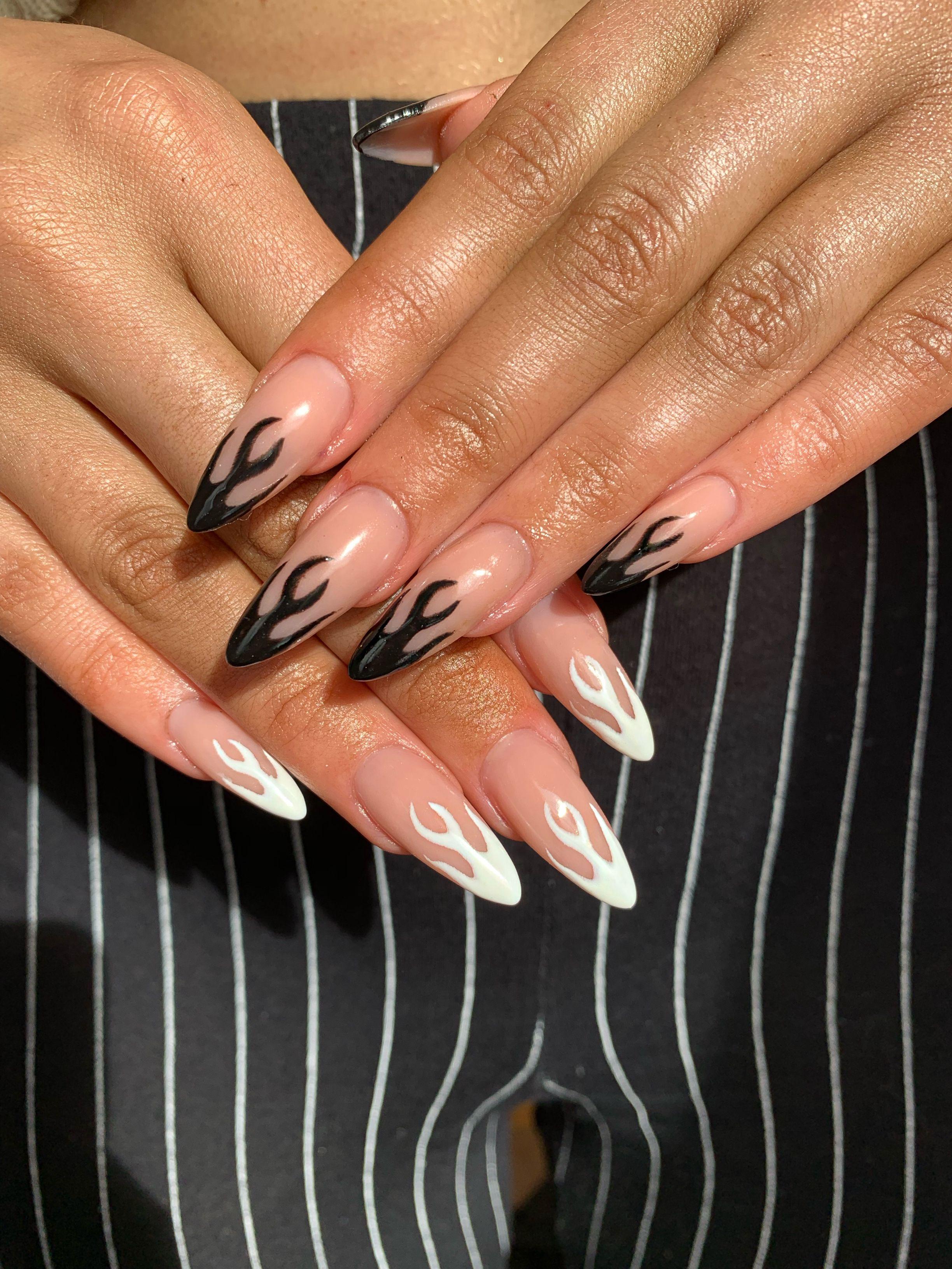 Flame Nails Almond Acrylic Nails Fake Nails Fire Nails