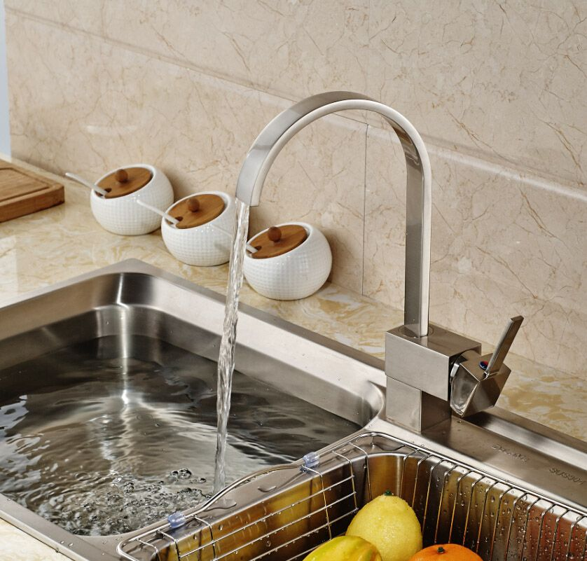 Nickel Brushed 360 Rotation Kitchen Mixer Faucet Single Handle One ...