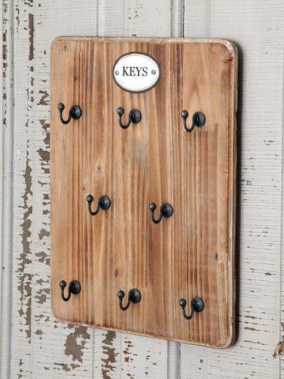 Wood Backed Key Hook Board Measures 10 X 13 Rustic Keys Key Hooks