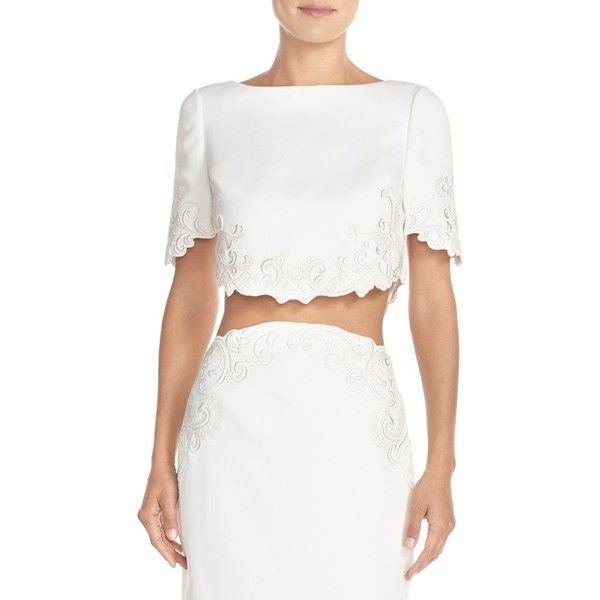 Women's Ted Baker London 'Capris' Embroidered Crop Top featuring polyvore, women's fashion, clothing, tops, cream, boatneck top, crop top, white boat neck top, embroidered top and boat neck crop top