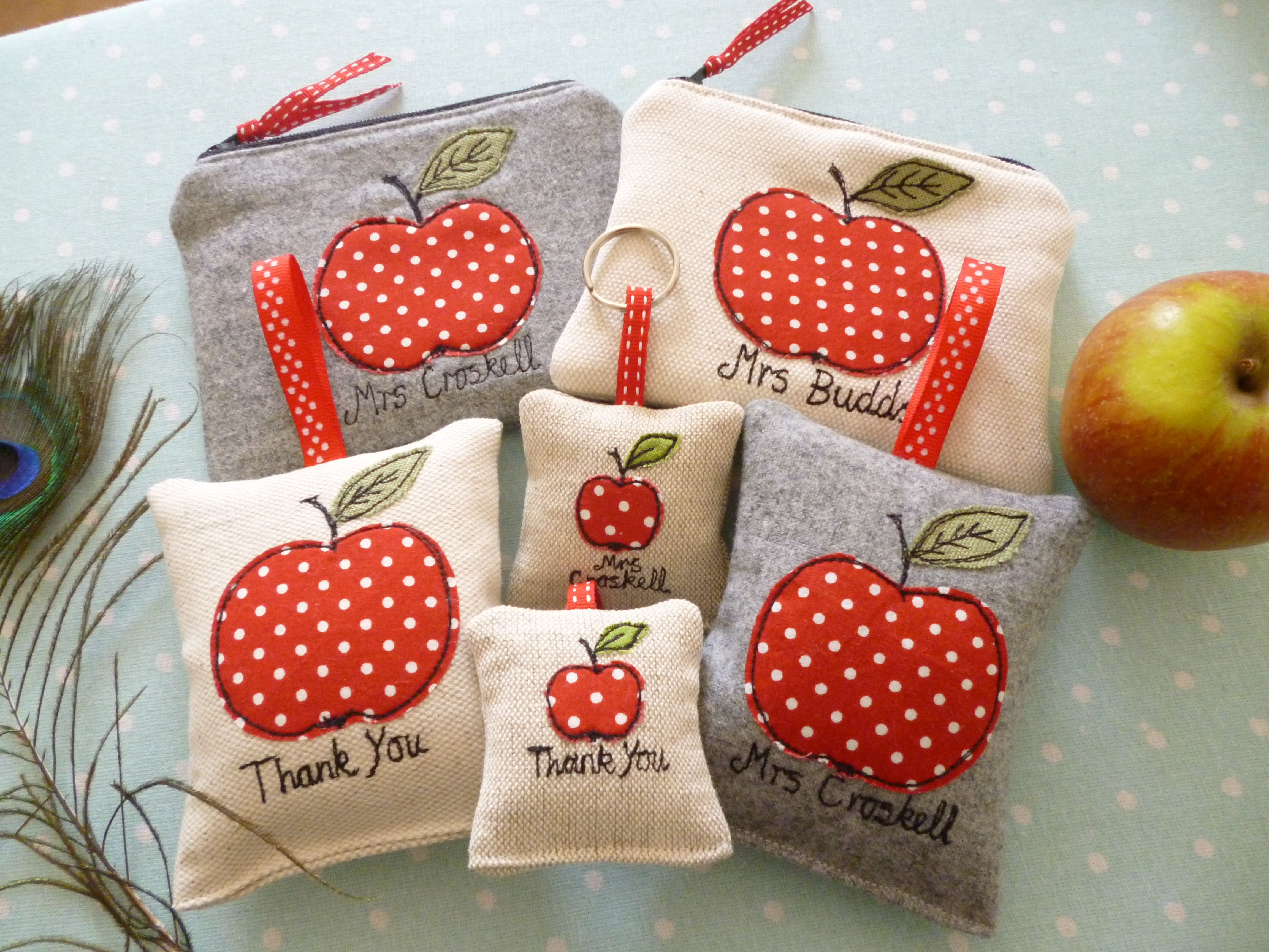 Teacher personalised apple applique gifts coin purses