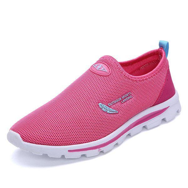 Mesh Match Color Slip On Flat Light Sneakers