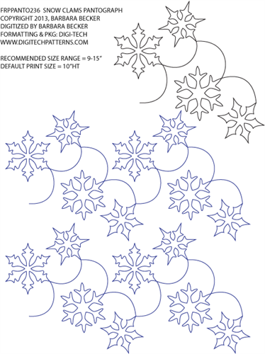 Snow Clams Pantograph by Barbara Becker FRPPANTO238 | Long Arm ...