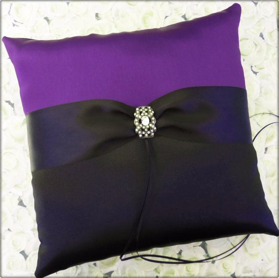 Wedding Ring Pillow Black Purple Ring Bearer Pillow by