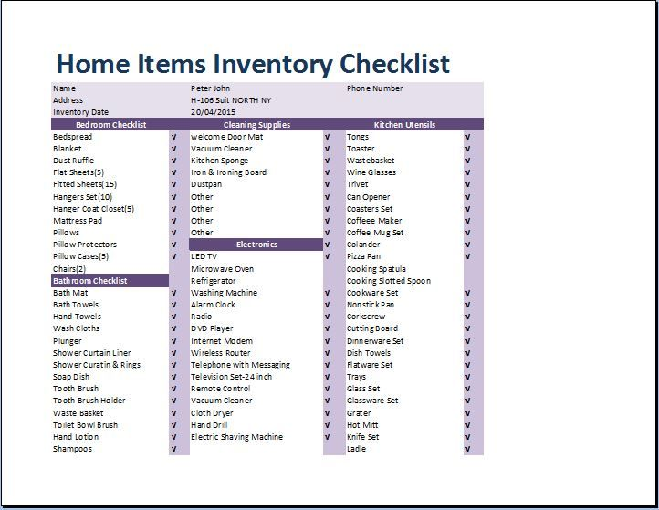 10 Home Inventory Templates Free Printable Excel Word