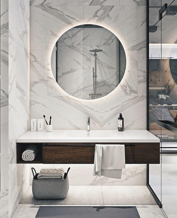 White Marble, Ringlight, White Interior For Bathroom