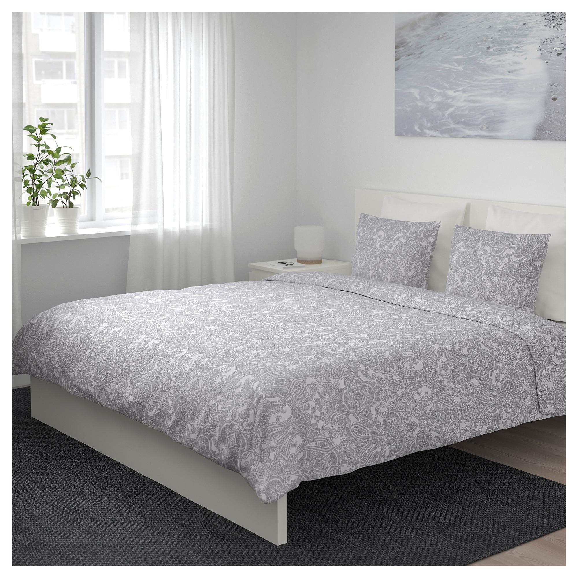 Ikea Jattevallmo Duvet Cover And Pillowcase S White Gray In