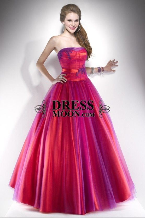 Fabulous Ball Gown Strapless Satin and Tulle With Lace Floor-Length ...
