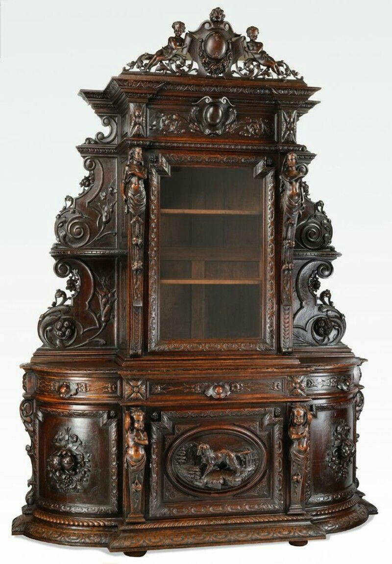 French Carved Oak Buffet De Chasse Late 19th Century Having A Pierced Crest Centering A Shell Topped Ca Ornate Furniture Victorian Furniture Gothic Furniture