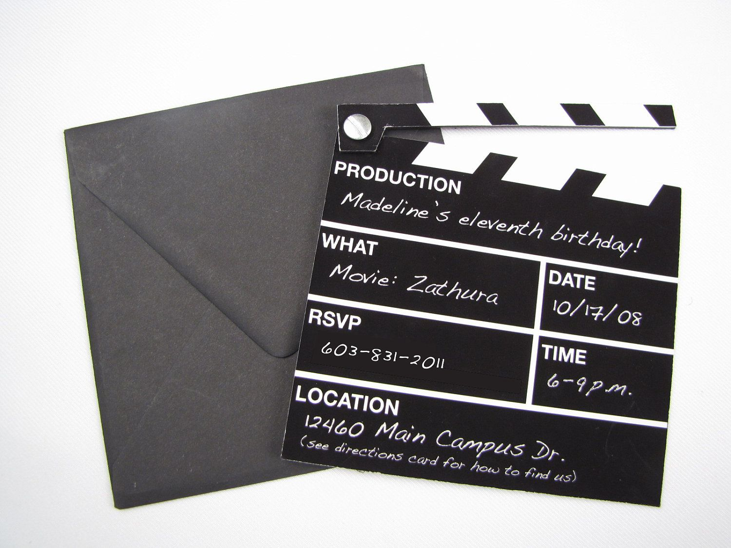 hollywood director 39 s clapper board movie themed invitation. Black Bedroom Furniture Sets. Home Design Ideas