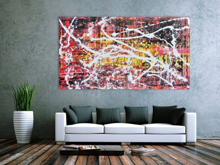 abstraktes acrylbild in rot schwarz gelb und weiss sehr modern 100x200cm von alex zerr abstrakt gemalde acrylbilder moderne malerei bild grau