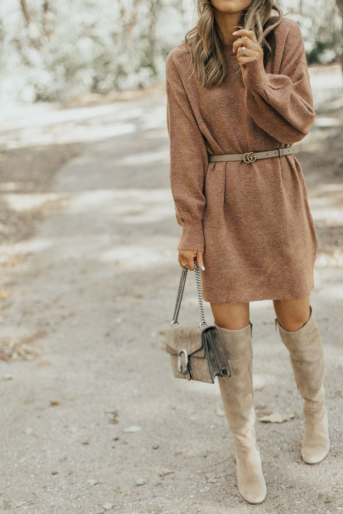 Fall Favorites: Sweater Dress & OTK Boots | Cella Jane