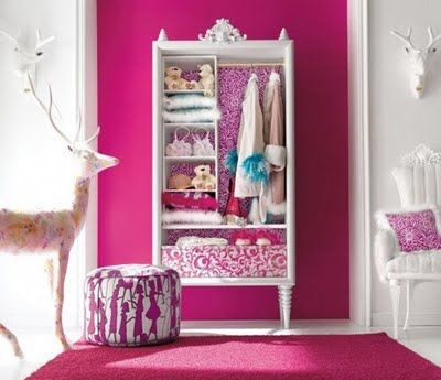 Girls Bedroom Decorations charming pink girls bedroom design idea | sliding wardrobe doors
