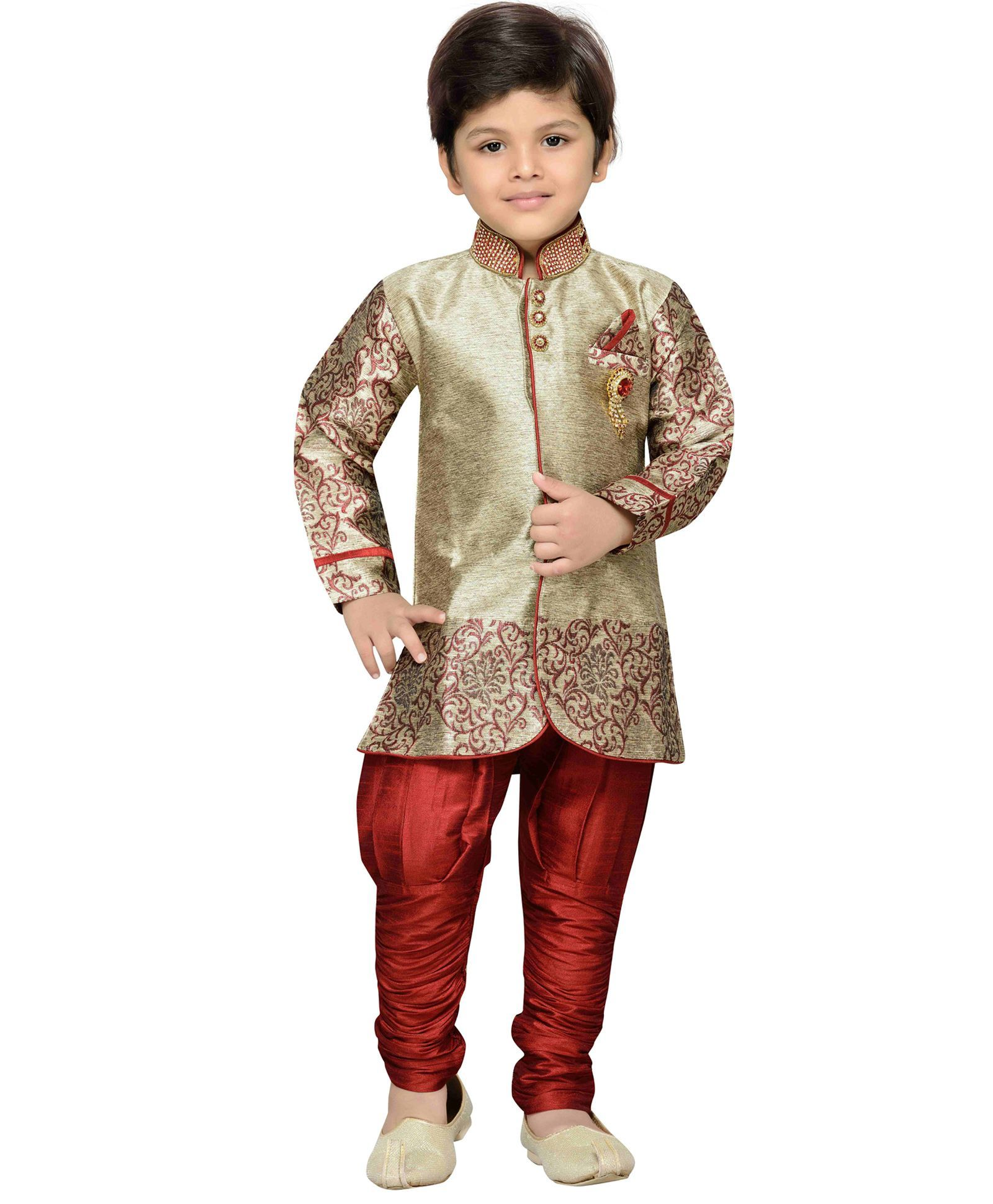 e17f489841 Buy AJ Deznies Self Design Sherwani and Breeches Set Maroon And Golden for  Boys (5