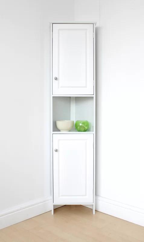 17 Stories Keele 37cm X 150cm Corner Free Standing Cabinet Bathroom Corner Cabinet White Storage Cabinets Corner Cabinet