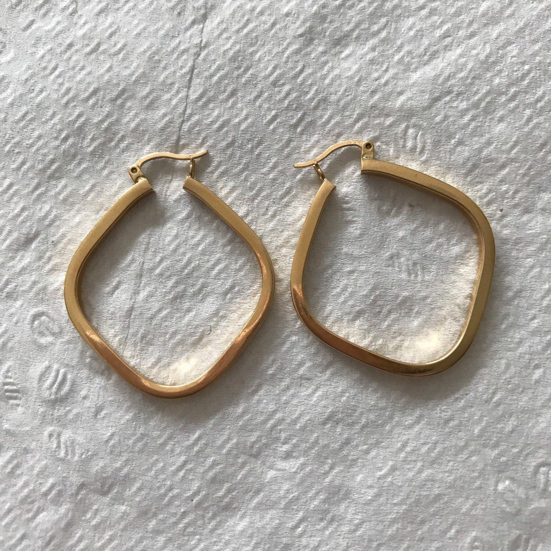 Body piercing earrings  Vintage Estate K Yellow Gold Square Hoop Pierced Earrings