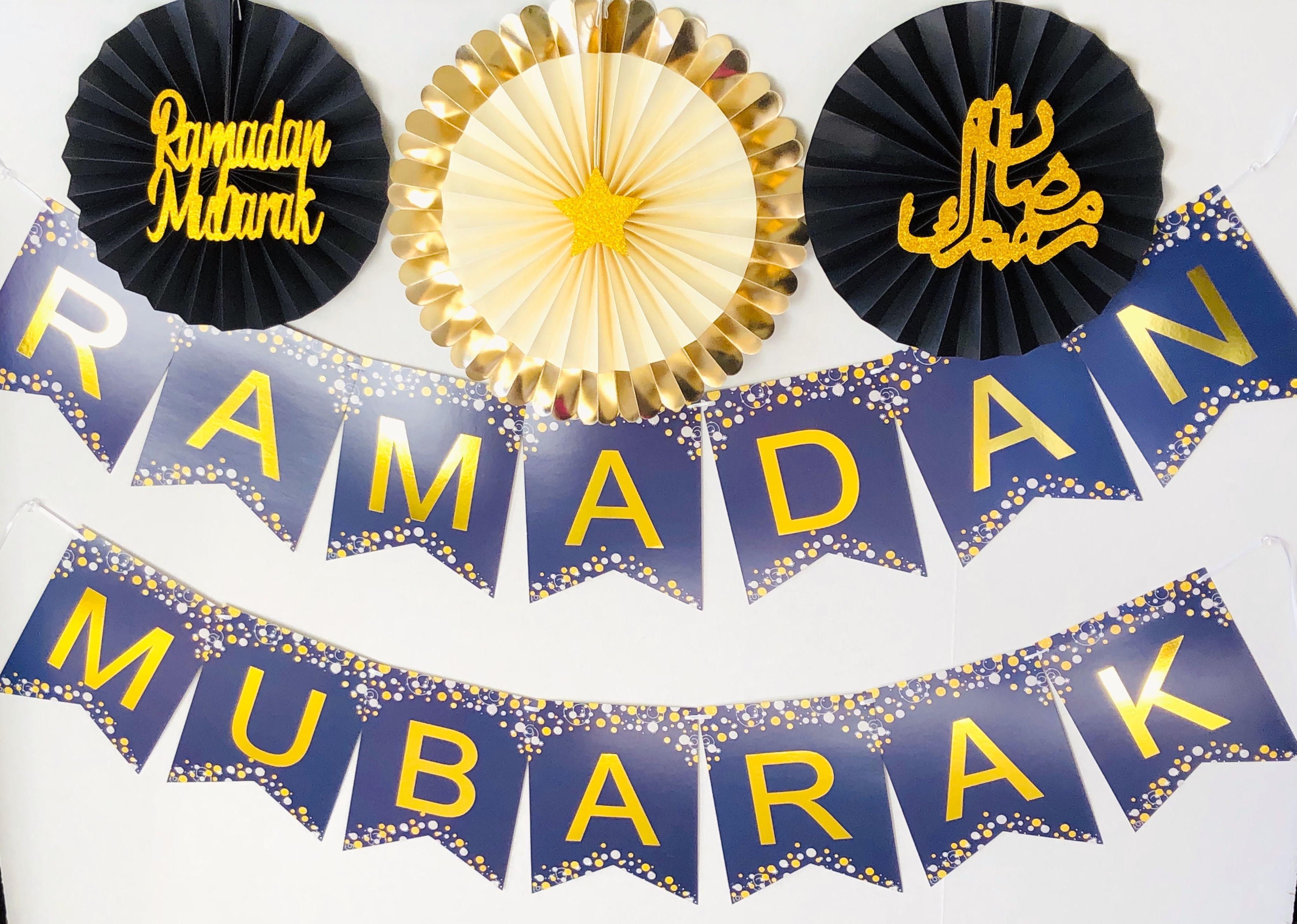 Pre Assembled Elegant Design Ramadan Banner Ramadan Mubarak Banner with Black Silver Paper Fans Beautiful
