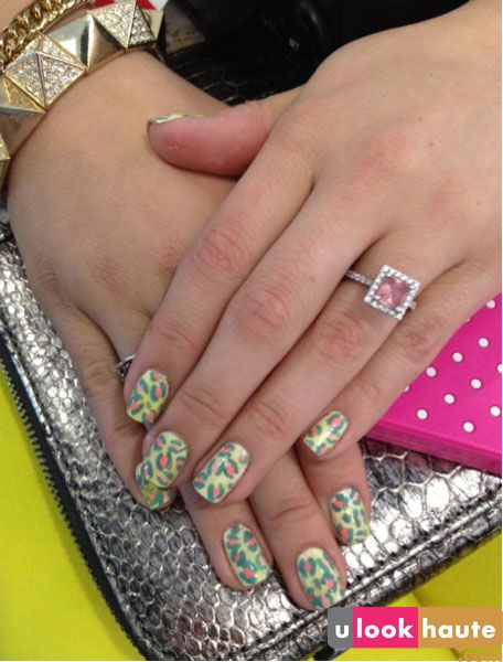 spring themed leopard print manicure