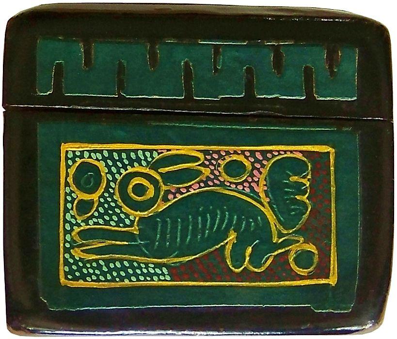 Mexican Green Olinal 225 Box Bird Rabbit And Flower Design