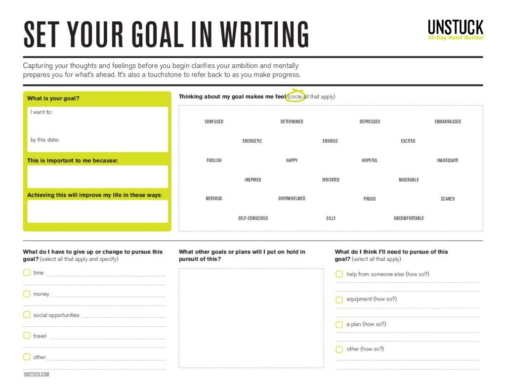 Set The Goals That Matter With This Printable Worksheet