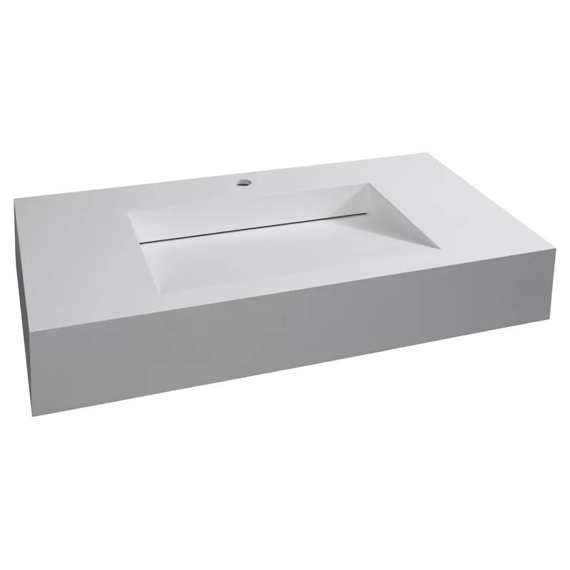 Boyter Stone Rectangular Wall Mount Bathroom Sink Wall Mounted Bathroom Sinks Bathroom Sink Wall Mounted Sink