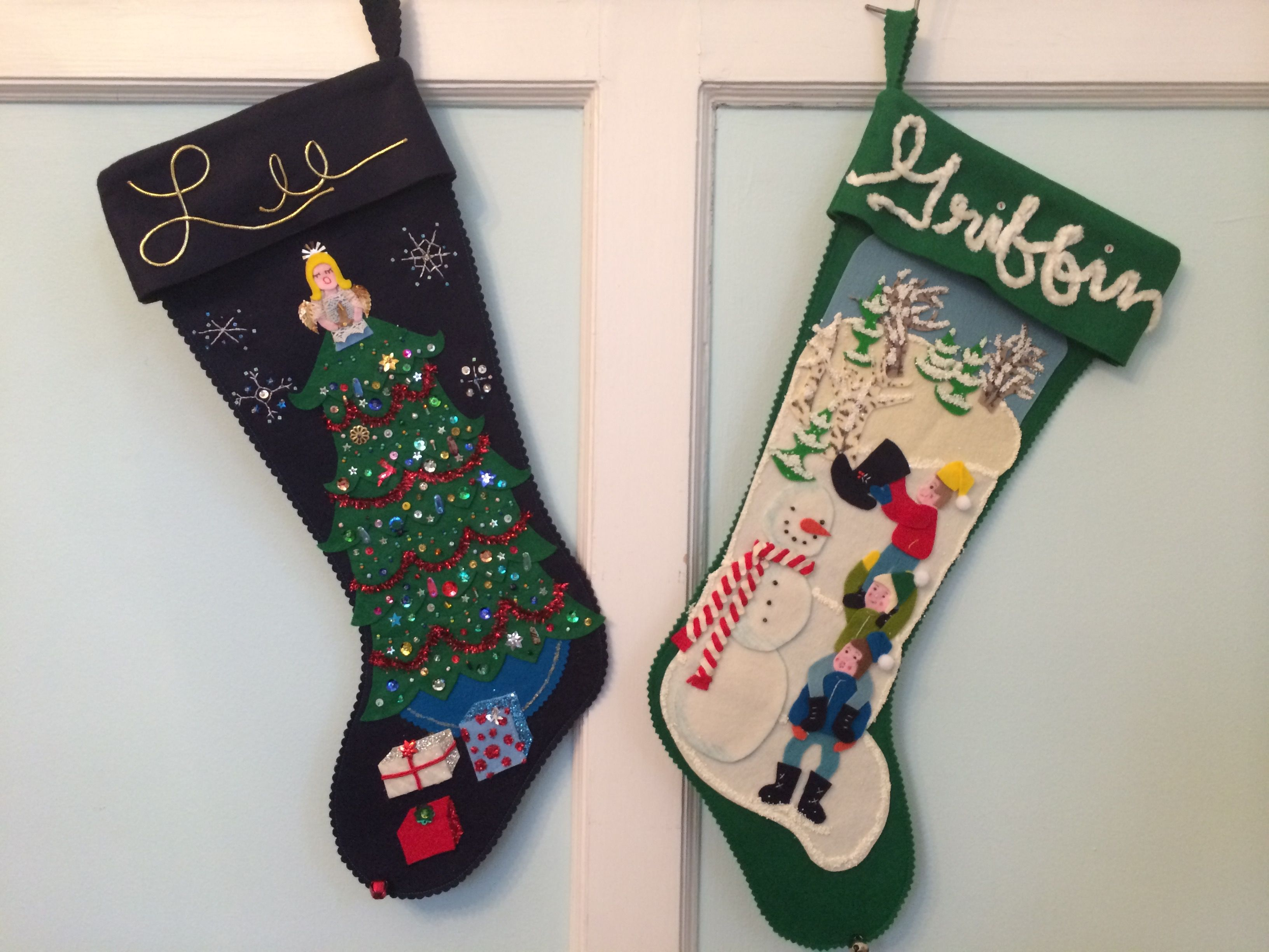 vintage inspired custom christmas stockings fancy tree with angel and brothers building a snowman