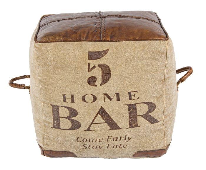 Puf de piel Sanpark Five - beige y marrón | EstiLo Industrial, lofts ...