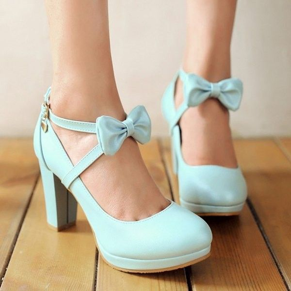 Cute Blue Bow Knot Design High Heel Fashion Shoes em 2019