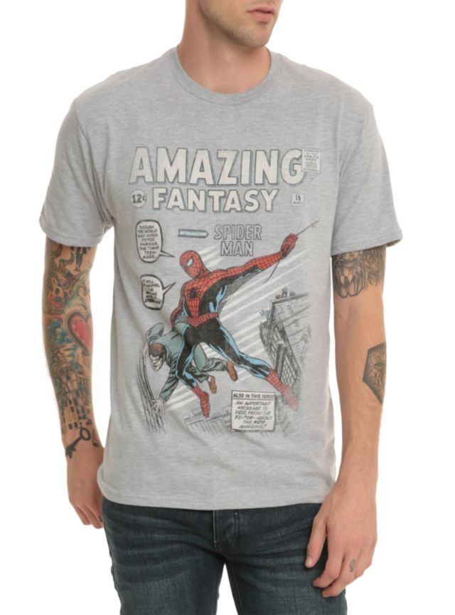 5536d57cf99 Heather grey T-shirt with distressed Amazing Fantasy #15 cover art design  commemorating Spider-Man's first Marvel Comics appearance.