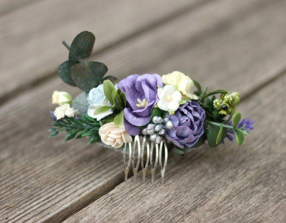 Eucalyptus Purple Hair Comb Bridal Comb Lavender Silver Wedding