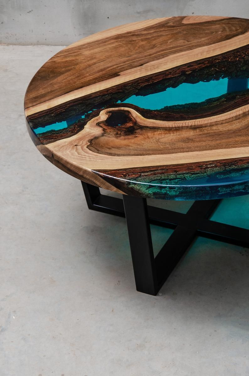 Couchtisch Mit Rand Live Edge Coffee Table Epoxy Resin Table Epoxy Table Walnut