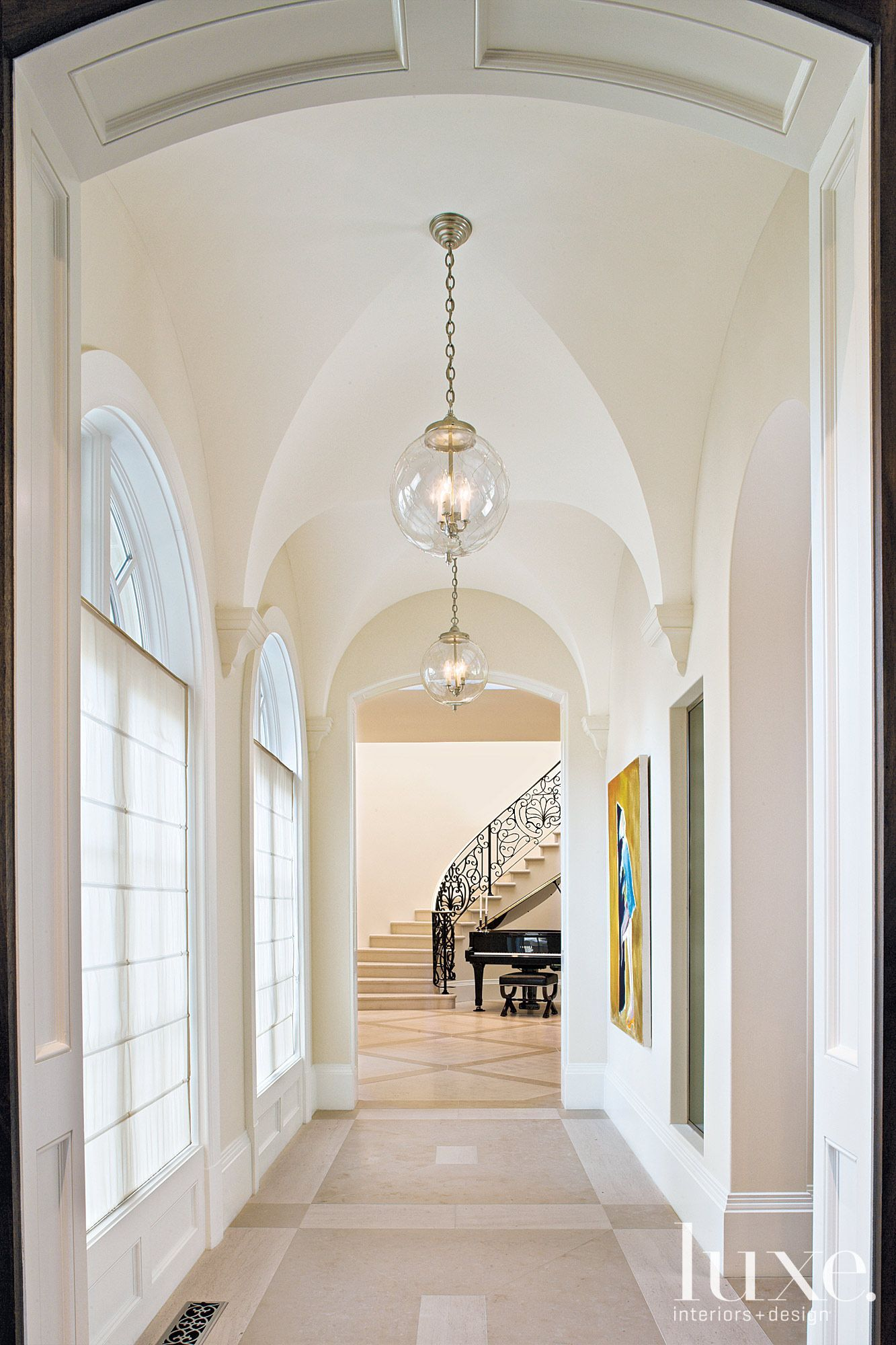 Traditional White Foyer with Groin-Vaulted Ceiling ...